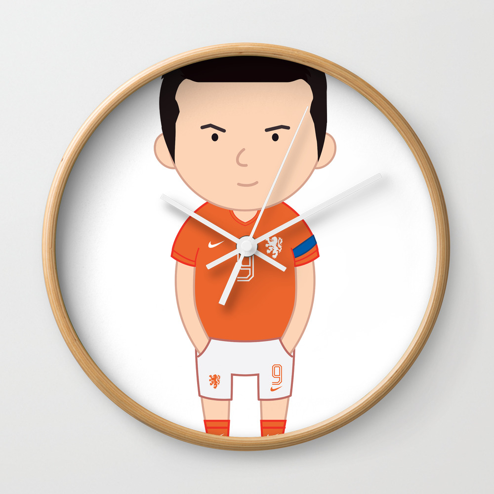 Robin Van Persie - Netherlands - World Cup 2014 Wall Clock by Toonsoccer CLK9019159
