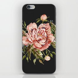 Pink Wild Rose Bouquet on Charcoal iPhone Skin