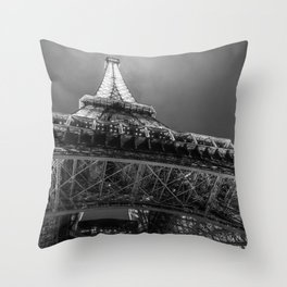 Eiffel Tower 2 (Black and White) Throw Pillow