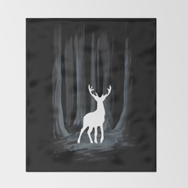 Glowing White Stag Throw Blanket