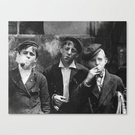 Lewis Hine - Newsies - Vintage Photo of Boys Smoking Canvas Print