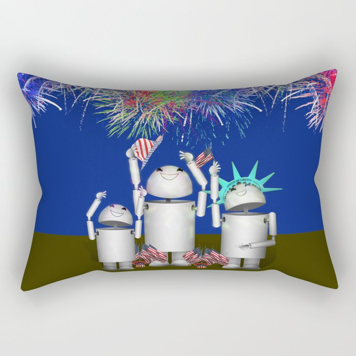 Robo-x9 & Family Celebrate the 4th of July Rectangular Pillow
