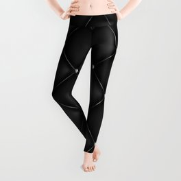 Black Quilted Leather Leggings