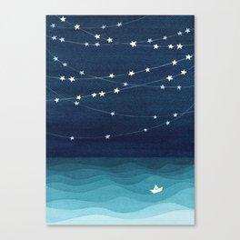 Garlands of stars, watercolor teal ocean Canvas Print