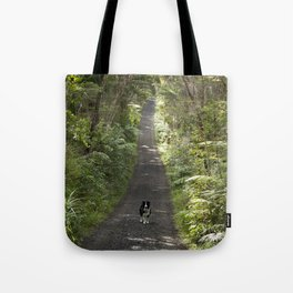 Border Collie on a Walk Tote Bag