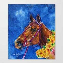 Secretariat Painting, Large Race Horse Watercolor Art Canvas Print