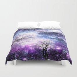 Black Trees Violet Purple Blue Space Duvet Cover