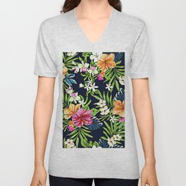 Bold Tropical Flowers of Hibiscus Orchids and Plumeria Unisex V-Neck