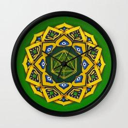 """Sacred geometry"" Green mandala by Ilse Quezada Wall Clock"