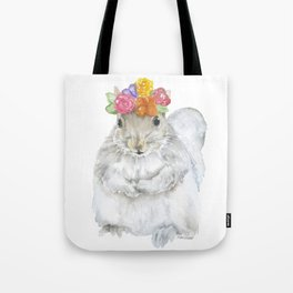 Gray Squirrel with a Floral Crown Watercolor Tote Bag