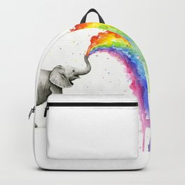 Baby Elephant Rainbow Spraying Cute Whimsical Animals Backpack