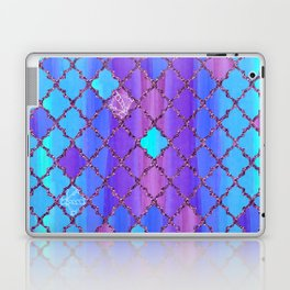 Moroccan Tile Pattern In Purple And Aqua Blue Laptop & iPad Skin
