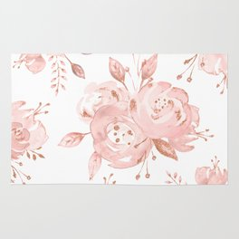 Roses Rose Gold Glitter Pink by Nature Magick Rug