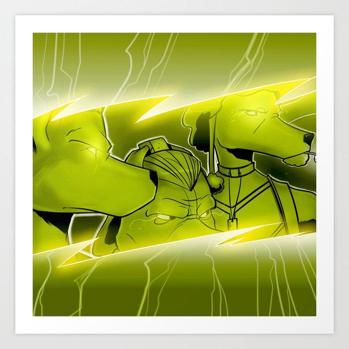 Lightning Dogs Never Turn Tail by Tony Baldini Art Print