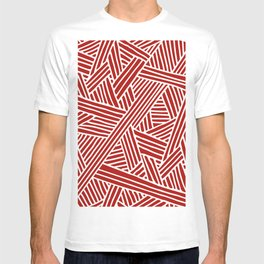 Abstract Navy Red & White Lines and Triangles Pattern T-shirt