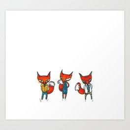 Tiny Foxes from a Fever Dream Art Print