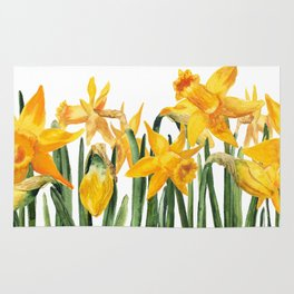 watercolor yellow narcissus Rug