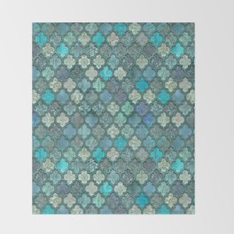 Moroccan Inspired Precious Tile Pattern Throw Blanket