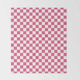 Small Checkered - White and Dark Pink Throw Blanket