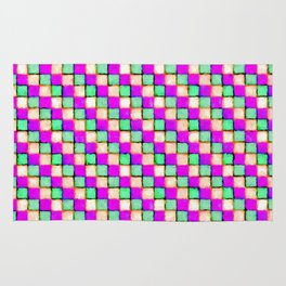 Violet Mint and Coral Patchwork Rug