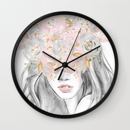 She Wore Flowers in Her Hair Rose Gold by Nature Magick Wall Clock