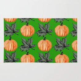 Pumpkin Grass-green Autumn Leaf Rug