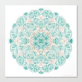 SO SHELLULAR Mint + Rose Gold Shell Mandala Canvas Print