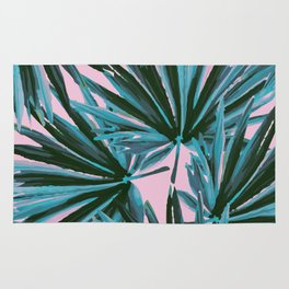 Tropical Palm Leaves in Botanical Green + Pink Rug