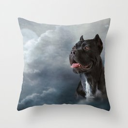 Drawing oil painting dog breed Cane Corso Throw Pillow