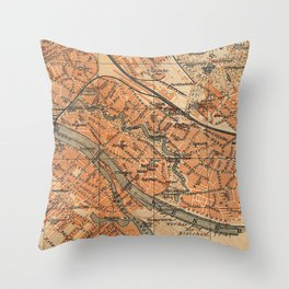 Vintage Map of Bremen Germany (1910) Throw Pillow