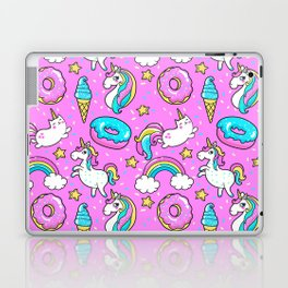 Kawaii Sweet Pink Glittery unicorn pattern Laptop & iPad Skin