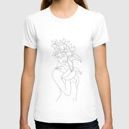 Minimal Line Art Woman with Flowers V T-shirt
