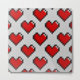 Knitted heart pattern - white Metal Print
