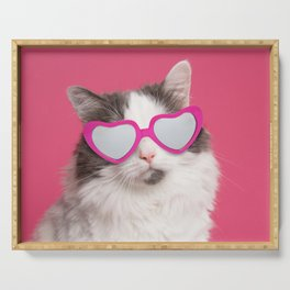 Valentine's Day Cat in Heart Shaped Sunglasses Serving Tray