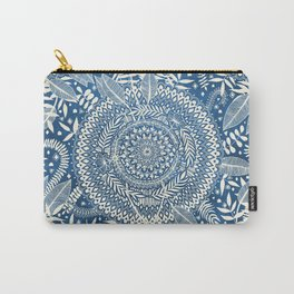 Diamond and Doodle Mandala On Blue Carry-All Pouch
