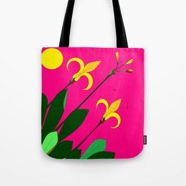 Yellow Lilies with the Sun in the Pink Sky Tote Bag
