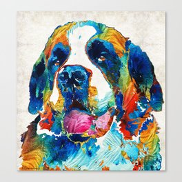 Colorful Saint Bernard Dog by Sharon Cummings Canvas Print