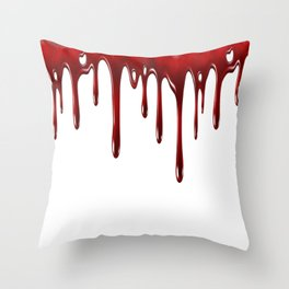 Blood Dripping White Throw Pillow