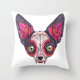 Día de los Muertos - Sugar Skull Cat Throw Pillow