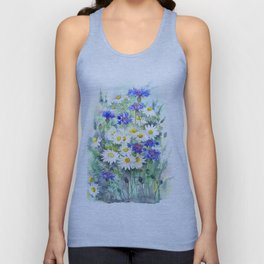 Watercolor chamomile and cornflowers Unisex Tank Top