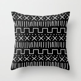 Black Mud Cloth Throw Pillow
