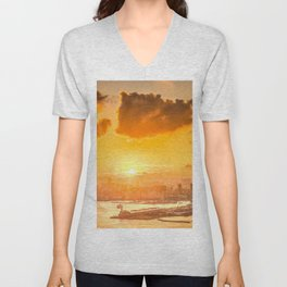 warm color tone orange sunset over hong kong urban city skyline at seafront Unisex V-Neck