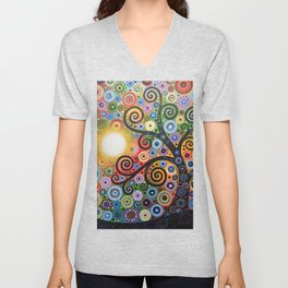 Abstract Art Landscape Original Painting ... Memory of Magic Unisex V-Neck