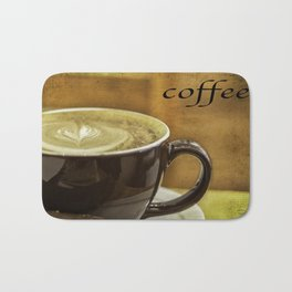 cappuccino coffee textured art Bath Mat
