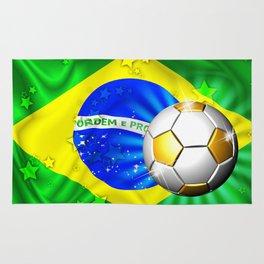 Brazil Flag Gold Green and Soccer Ball Rug