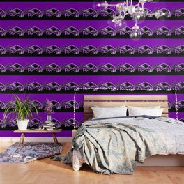 Purple, Black and White Cheerleader Design Wallpaper