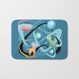 Atomic Rocket Powered Space Dogs Bath Mat