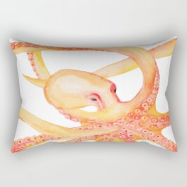 Orange Octopus Watercolor Rectangular Pillow
