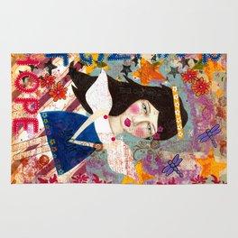 Angel mixed media inspirational wall art Rug