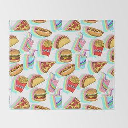 Rainbow Fast Food Throw Blanket